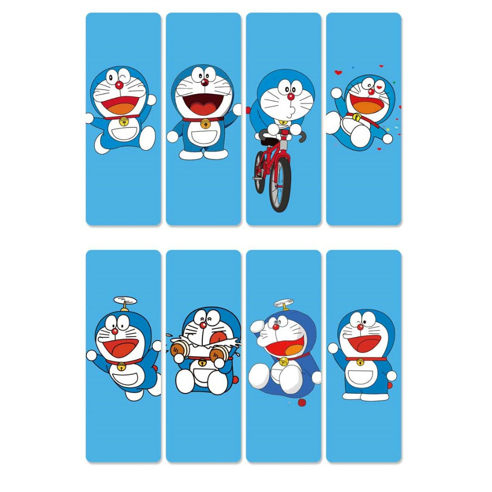 8pcs Doraemon Anime Bookmarks Waterproof Transparent PVC Plastic Bookmark Beautiful Book Marks Gift