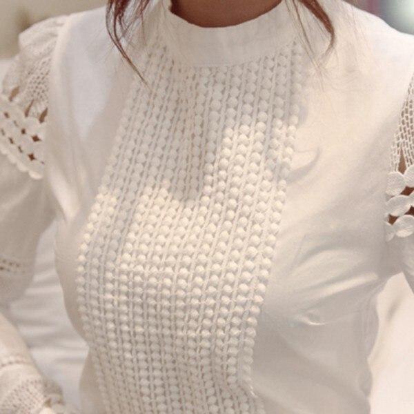 Летний стиль тонкий вышивка с длинным рукавом крючком белый хлопок блузка