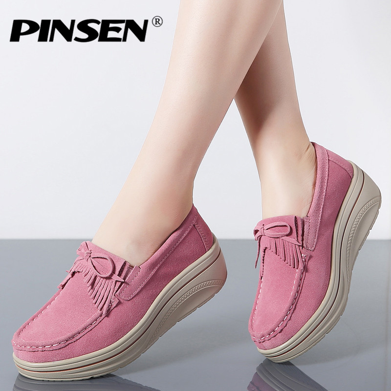 PINSEN Fashion Women Flat Platform Shoes   Leather     Suede   Fringe Slip-on Ladies Shoes Woman Flats Creepers Moccasins tenis feminino