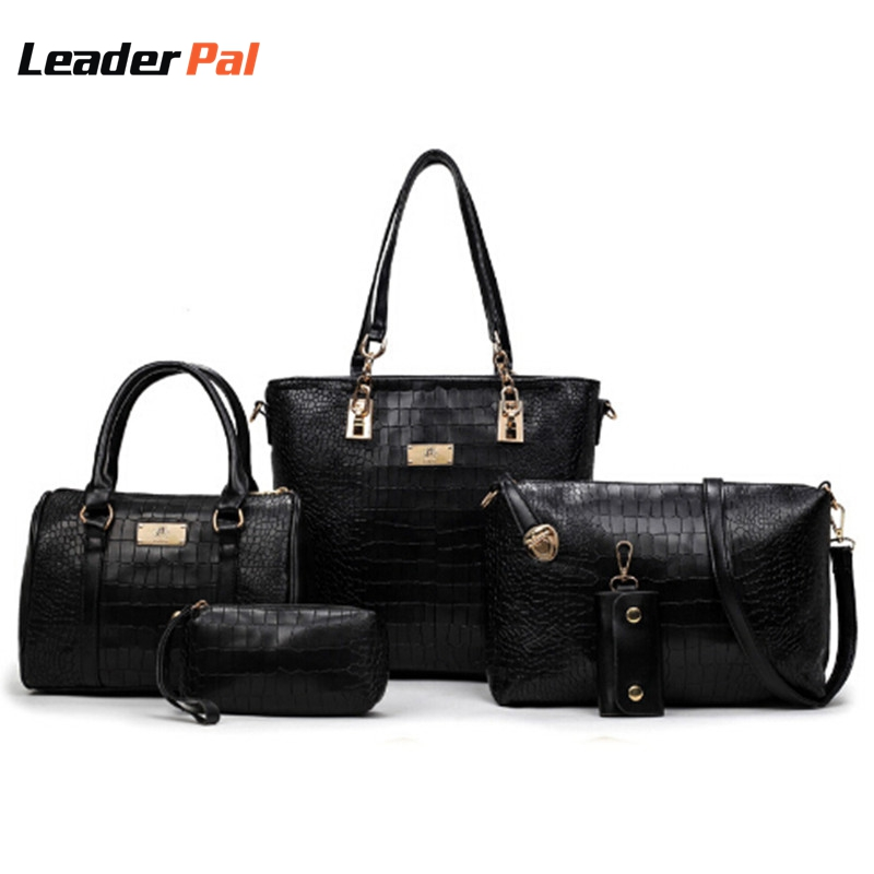 ФОТО 3 Pcs/Set Crocodile Style Composite leather Bag Women Handbag Shoulder Crossbody Bag Handbag+Messenger Bags+Purse+Wallet 601838