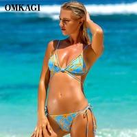 OMKAGI Brand Micro Bikinis Set Swimsuit Swimwear Women Swimming Bathing Suit Beachwear Female Sexy Push Up