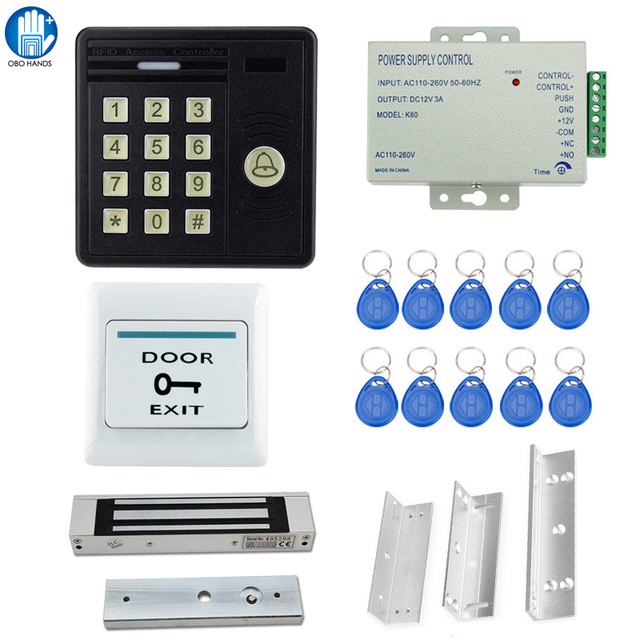 IP65 Waterproof Access Control System Kit Set 159 Access Control  Machine+Lock+Power Supply+Keyfobs+Door Holder+Bracket+Switch-in Access  Control Kits
