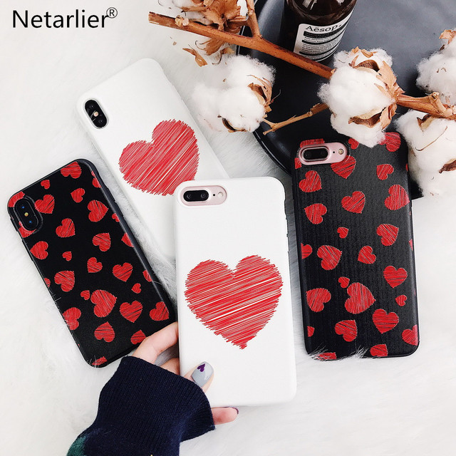 Netarlier Abstract Case For iPhone 6 Plus/6s Plus Lovely Korea Red Love Hearts Painted 5.5 inch Hearts TPU Soft Phone Case Cover
