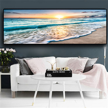 Natural Gold Beach Sunset Landscape Posters and Prints Canvas Painting Mediterran Scandinavian Wall Art Picture for Living Room