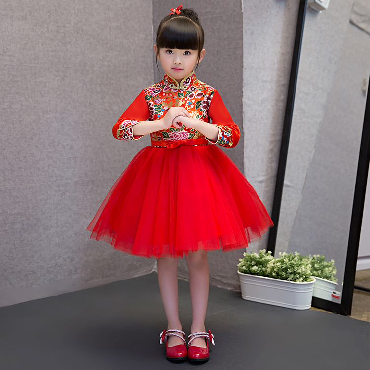 2017 New Red Chinese Baby Girl Cheongsam Dress Qipao Girls Dresses for Party Kids Brithday Clothing New Year Child Clothes 2017 autumn chinese style girl dress cotton short sleeve chinese cheongsam for kids baby girls qipao girls clothes