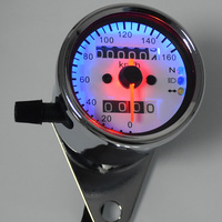 Univeral Motorcycle Dual Odometer Speedometer Tachometer Gauge With LED Backlight High Quality