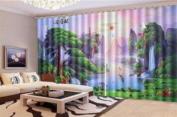 3d Curtain Window Promotion welcoming pine beautiful landscape scenery Digital Print 3d HD Landscape Curtains