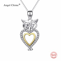 925 Sterling Silver Lovely Cute Owl Love Heart Pendant Choker Necklaces Crystal CZ Statement Necklace Jewelry For Women