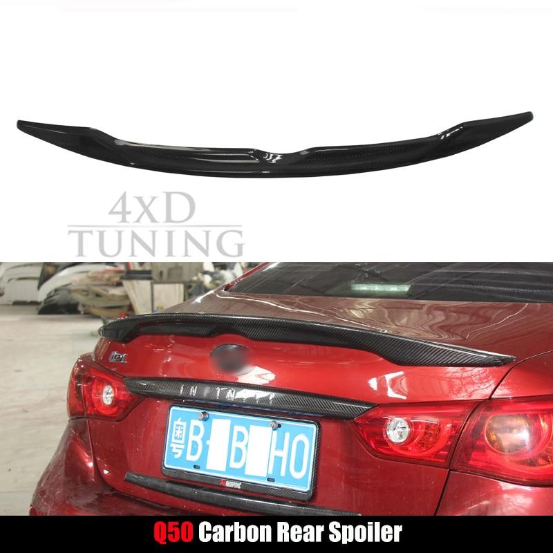 For Infiniti Q50 Q50S Spoiler 2014 2015 2016 Q50 Carbon Fiber Rear spoiler Rear Wing Trunk yandex w205 amg style carbon fiber rear spoiler for benz w205 c200 c250 c300 c350 4door 2015 2016 2017