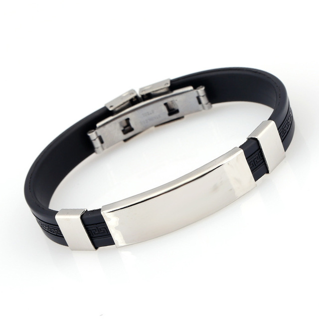 Fashion Men Stainless Steel Bracelet Personalized Engrave Name Silicone Bracelet Bangle Minimalis Custom Jewelry Father Day Gift