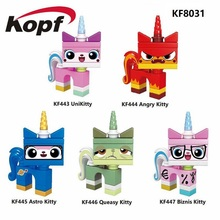 Super Heroes egyszeri filmsorozat Angry Astro Queasy Biznis Kitty Unikitty tégla építőelemek Gyermek Ajándéktárgyak KF8031