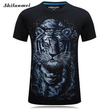 tshirt 2017 Fashion Cotton 3D Tiger Printed Plus Size summer leisure O neck short sleeve comfortable