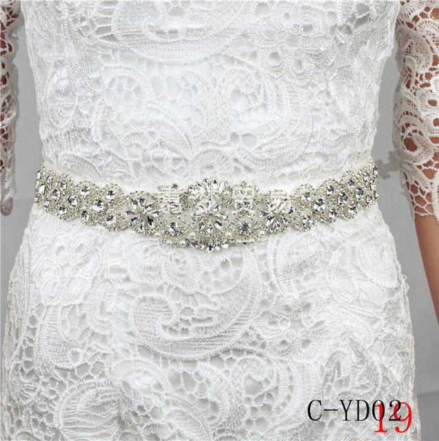 Women Luxurious Floral New Crystal Rhinestone Wedding Bridal Sash Belt Prom Sash Wedding Sash Belt 270cm*3cm C-YD02