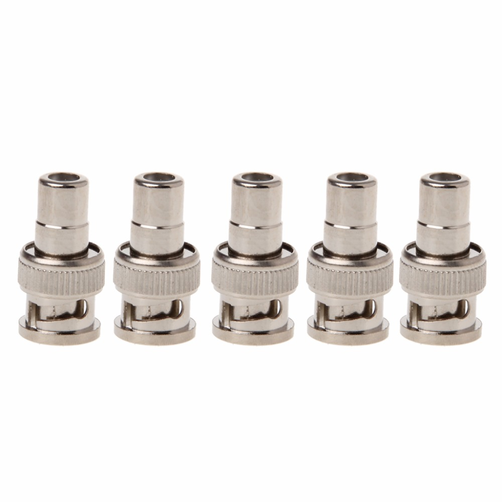 5x BNC Male To RCA Female Coaxial Connector Adapter For CCTV Surveillance Video