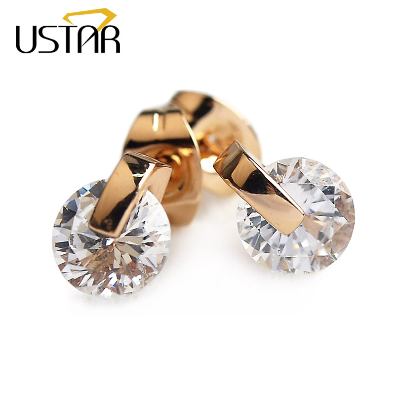 USTAR 7mm Austria Crystal stud earrings for women AAA Zircon Rose Gold color wedding fashion Jewelry Earrings female Brinco gift