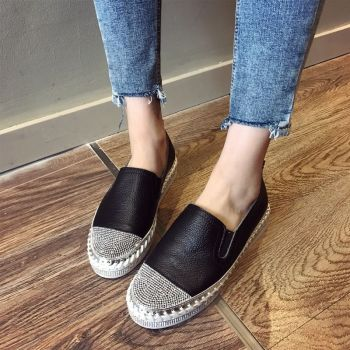 European Famous Brand Patchwork Espadrilles Shoes Woman Genuine Leather Creepers Flats Ladies Loafers White Leather Moccasins 1