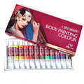 12 Colores No Tóxico Seguro Cara Cuerpo Pintura Pigmento de Color Temporal cuerpo de Pintura de Arte Para Copa Mundial de Partes de Carreras de Color Maquillaje herramientas