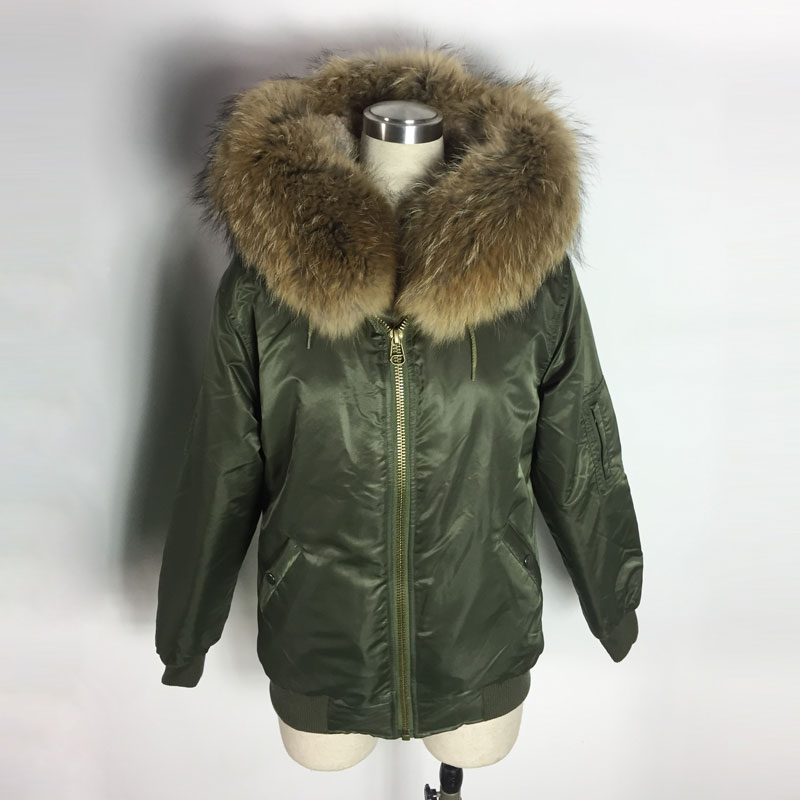 Winter & Spring Style Natural color fur Jacket Bombers Raccoon collar Bomber Jacket