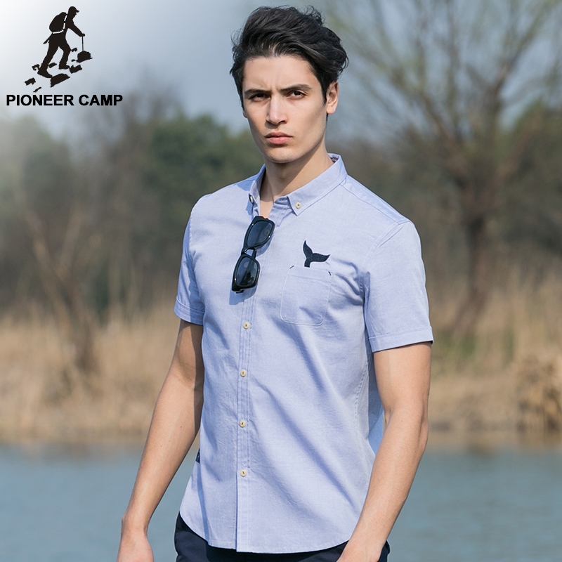 Pioneer new fashion men shirt short sleve 100 for Men s 100 percent cotton dress shirts