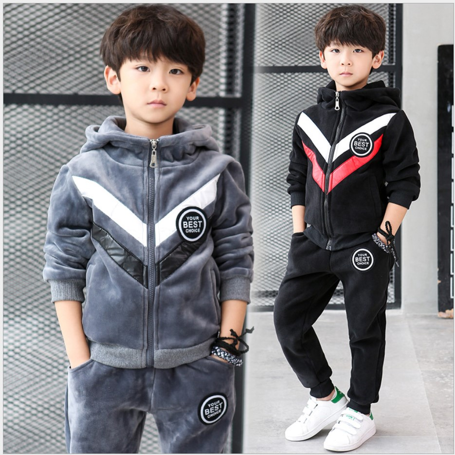Boutique Boys Clothes 2017 Winter Suits For Boys Hoodie Two Piece Tracksuit Kids Thickening of Velvet