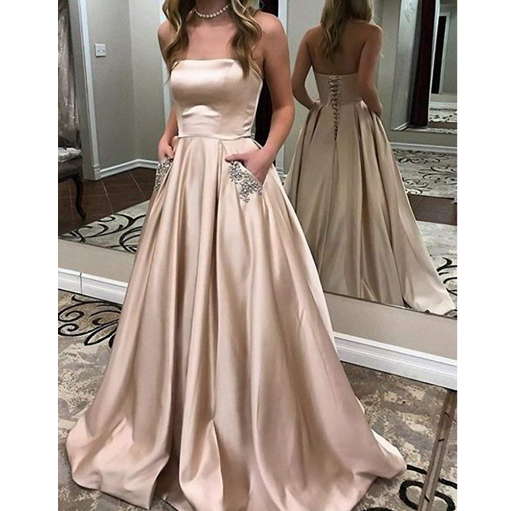 New Coming Satin   Prom     Dress   with Pocket Lace Up Back Sexy Evening Gowns for Young Ladies Floor Length Party Gowns Custom Made