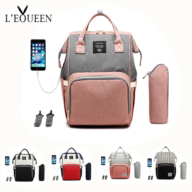 USB LEQUEEN Diaper Bag+Milk Bottle (heat preservation)+stroller hooks+USB cable Mummy Backpack Baby Care Bag Travel Backpack image