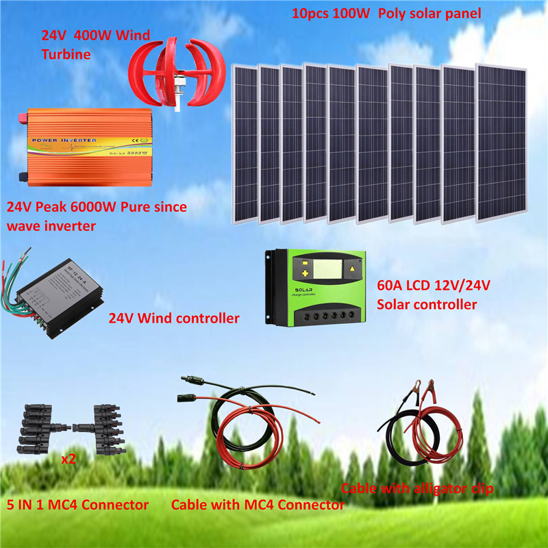 24V System 1400W Hybrid System Kit: 400W Wind Turbine & 10*100W Poly solar panel+ Peak 6000W Pure Since Wave Inverter+Accessorie image