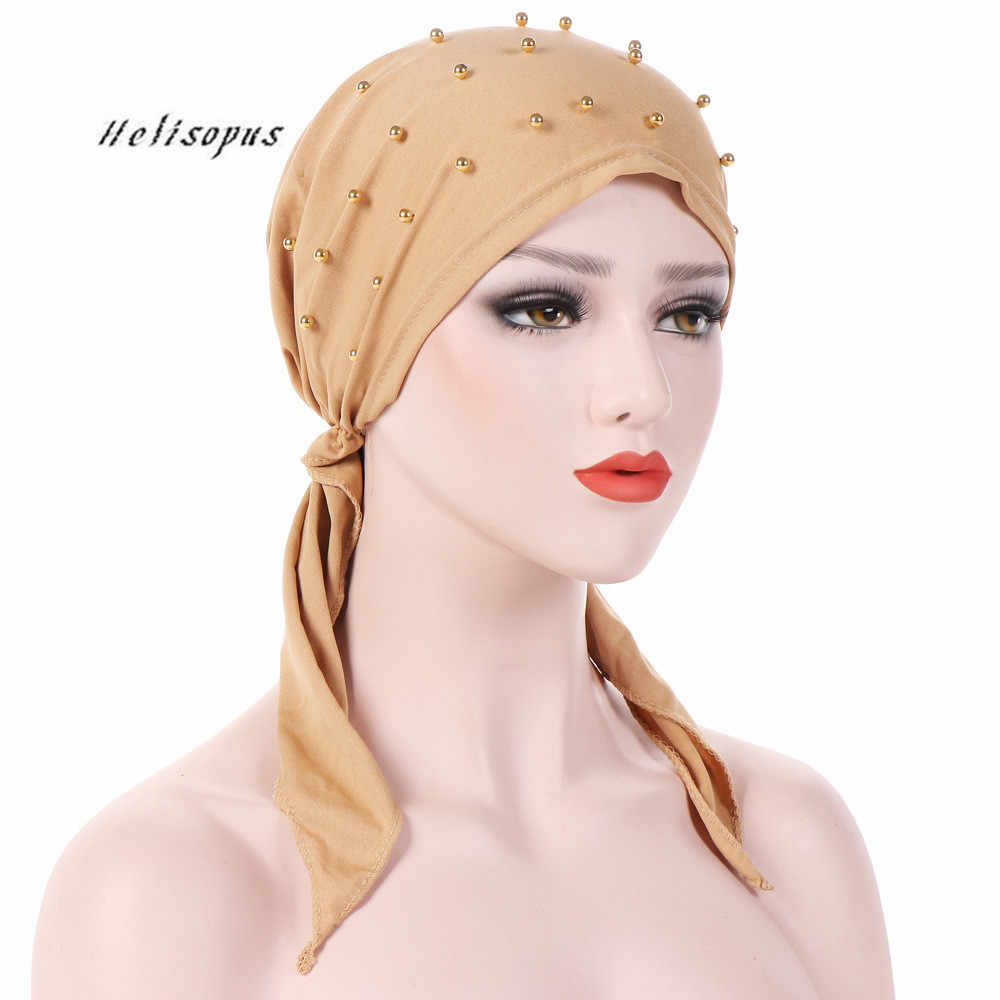 Helisopus Women Fashion Pure Color Headwear Beaded Stretch Muslim Turban Headscarf Women Head Wrap Hair Loss Scarf Cover