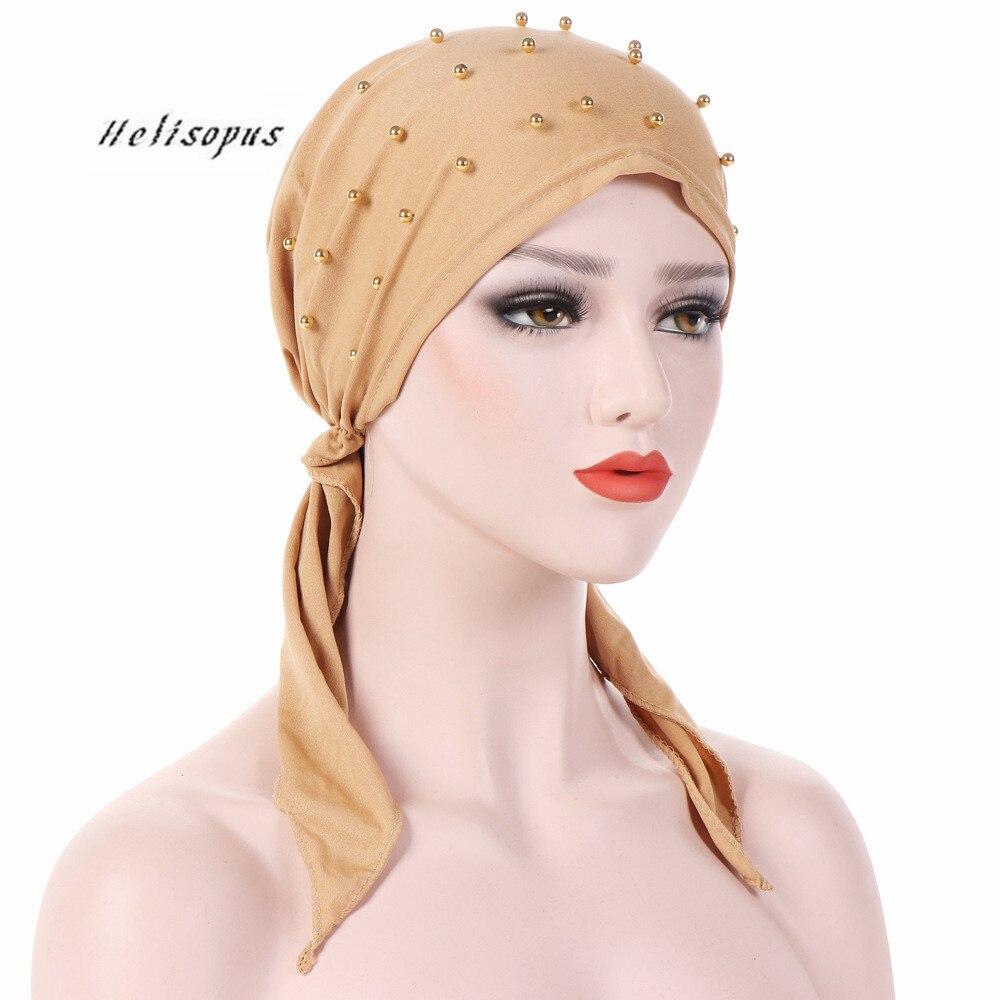 Helisopus Women Fashion Pure Color Headwear Beaded Stretch Muslim Turban Headscarf Women Head Wrap Hair Loss Scarf Cover