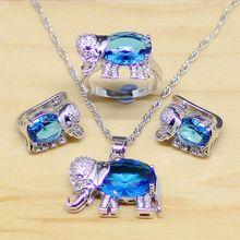 Слон синий циркон белый кристалл 925 серебро Комплекты ювелирных украшений для женщин партии Серьги/Подвеска/Цепочки и ожерелья/Кольца T157