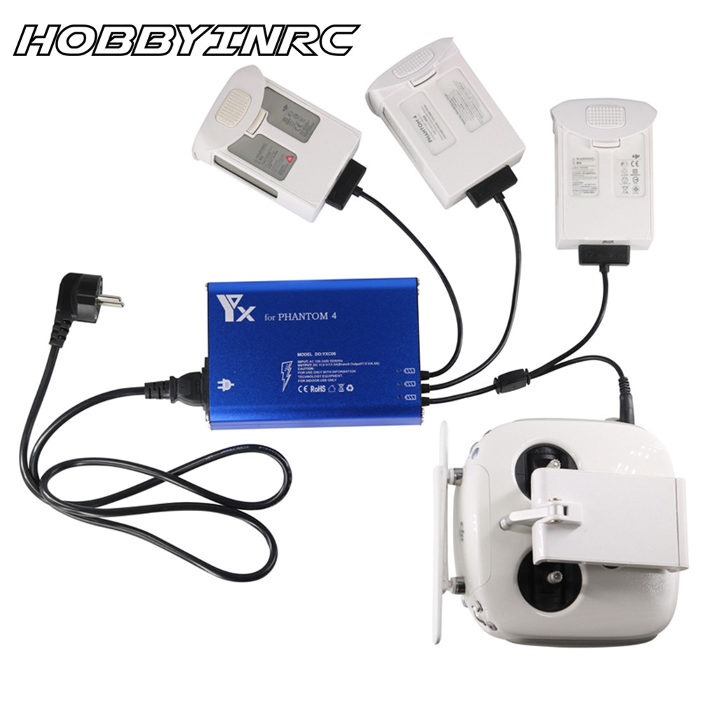 HOBBYINRC Mini 4 in 1 Multi Intelligent Parallel Charger Battery Transmitter Charger For DJI Phantom RC Drone Accessories