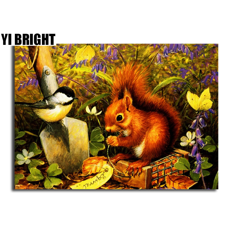 YI BRIGHT DIY 3D Diamond Embroidery,Cross Stitch,Squirrel And Bird Mural,Full Square&Round Diamond Painting,Home Decor,GT