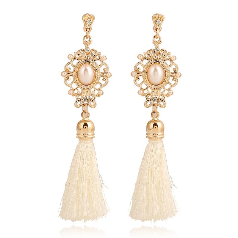 Dangle Earrings: Retro Royal Statement Pearl Rhinestone Crystal White Black Tassel Earrings for Women Long Dangle Drop Earring Ethnic Jewelry