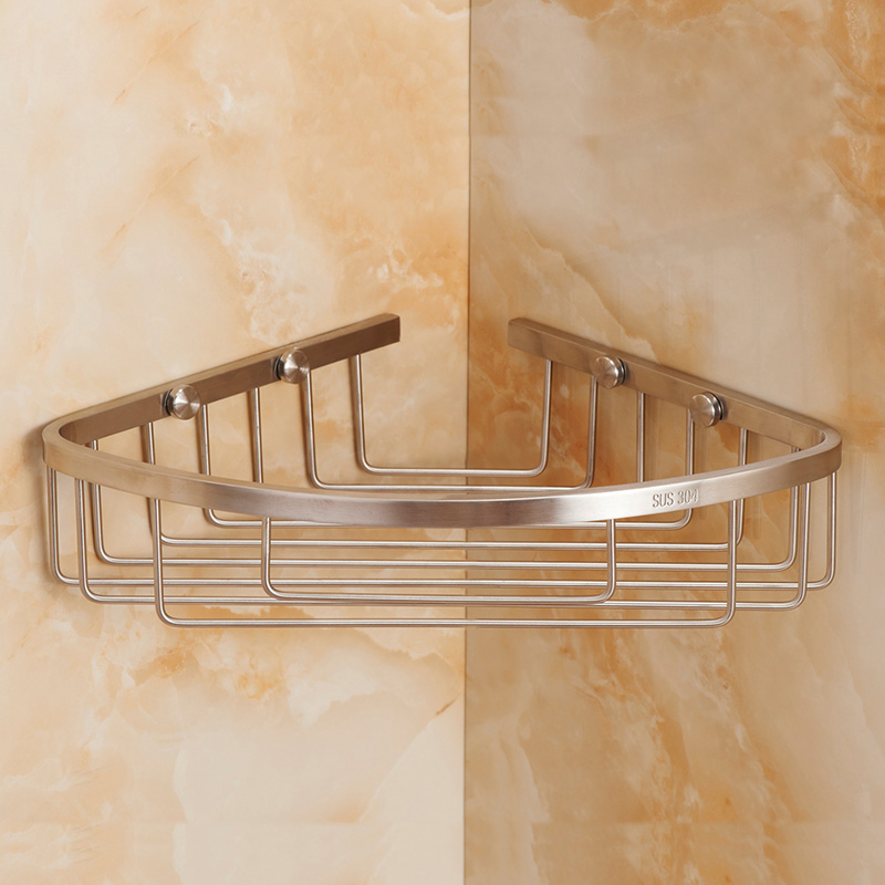 Brushed Corner Shower Caddy Rustproof Stainless Steel Wall Mount ...