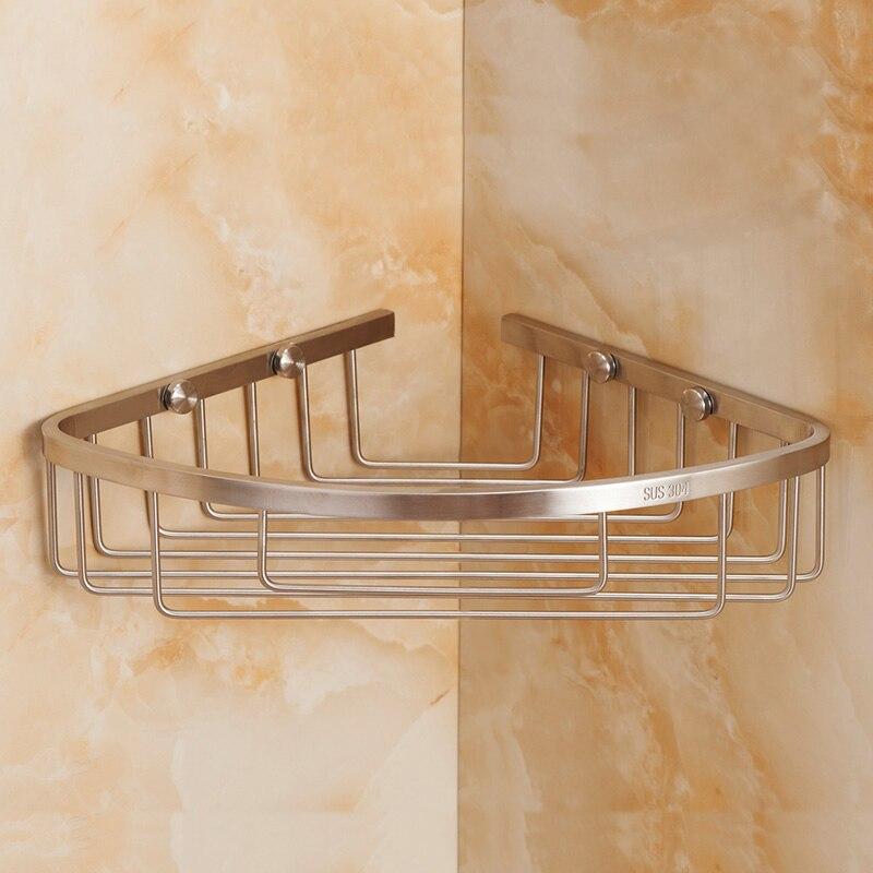 brushed corner shower caddy rustproof stainless steel wall mount shower basket bath shelf for bathroom