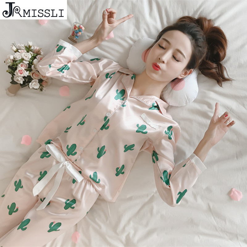 JRMISSLI Luxurious Women   Pajama     Set   Faux Silk Ladies   Pajamas   Female Pijamas 2 Pcs Silky Sleep Lounge Woman
