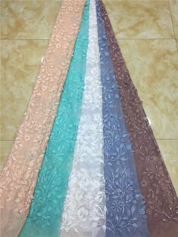 جميلة زهرة مطرزة صافي نسيج الدانتيل أفريقي الترتر الزفاف الأربطة الأزرق اللون 2019 دانتيل غيبور عالي الجودة أقمشة ملابس