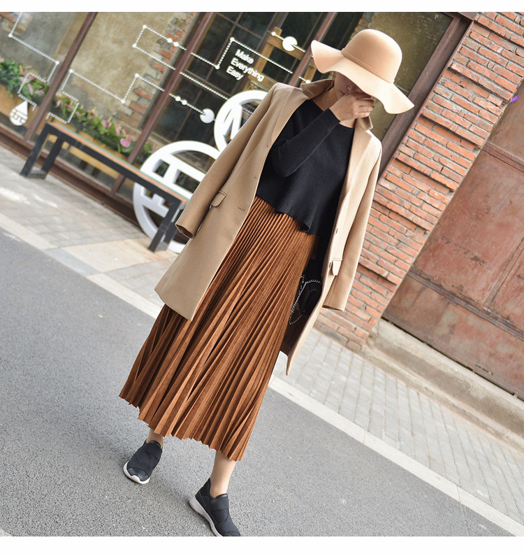 19 Two Layer Autumn Winter Women Suede Skirt Long Pleated Skirts Womens Saias Midi Faldas Vintage Women Midi Skirt 46