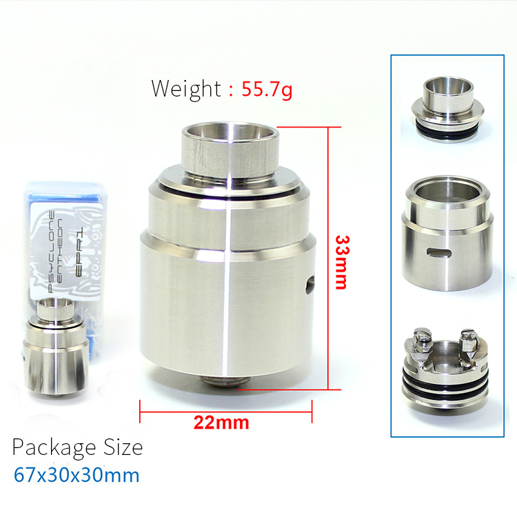 SXK entheon rda new hadaly v3 with bf pin 316 stainless steel 22mm diameter vaporizer atomizer