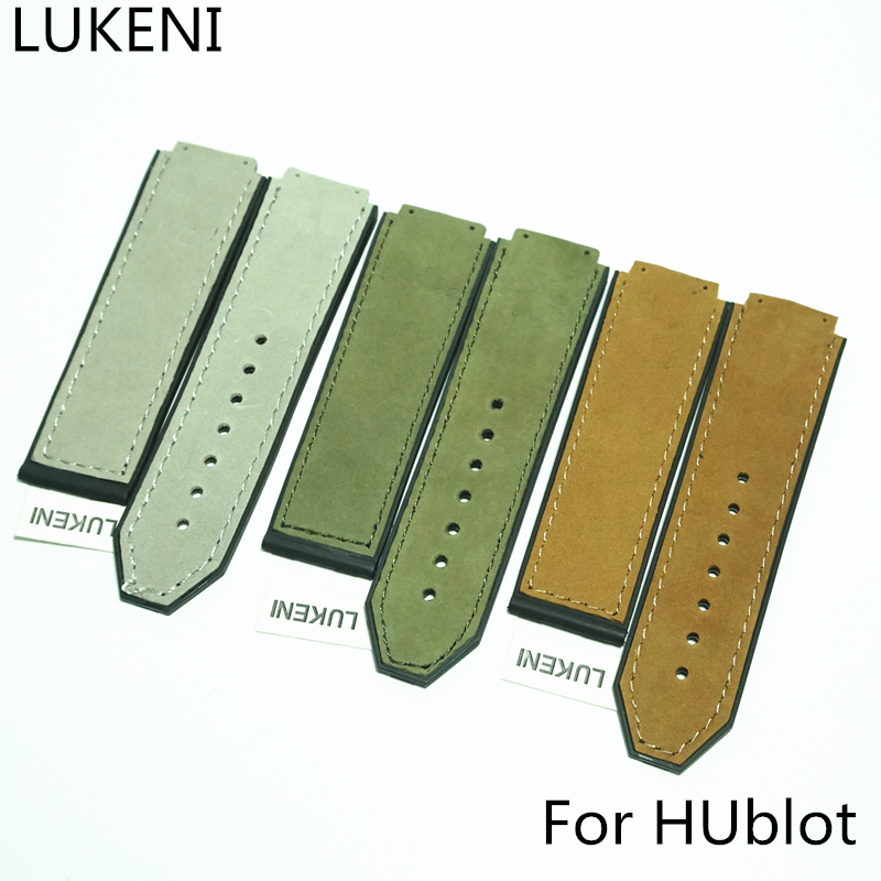LUKENI NEW Luxury Brand 25*19mm leather Silicone Rubber Watch Strap Watchband For Hublo Big Beng Watch Without buckle with logo стоимость