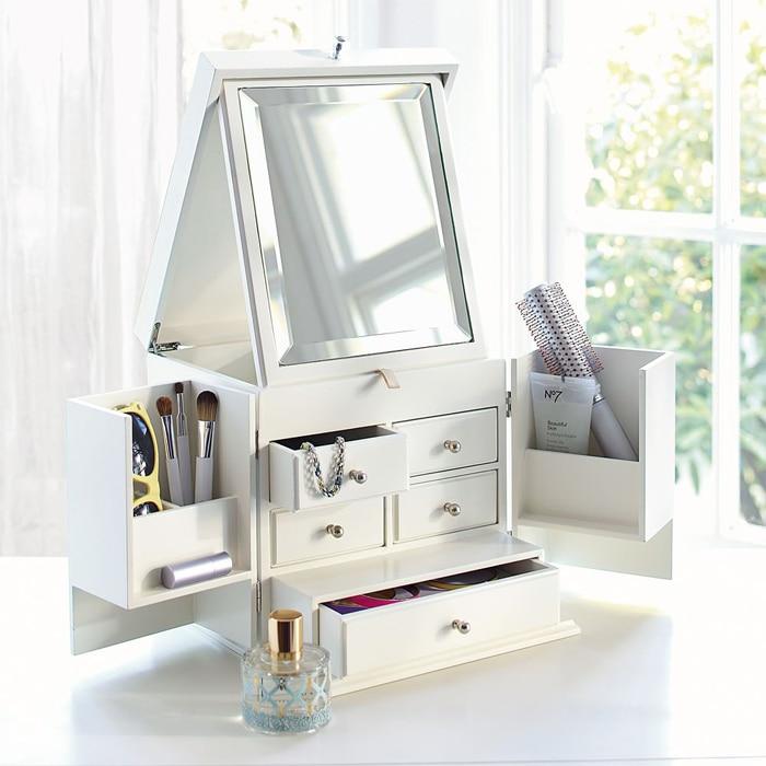 Рабочего стола деревянная коробка для хранения косметики Обложка супер большой туалетный столик маска для ухода за кожей с зеркалом, шкаф д