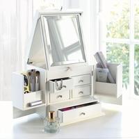 Desktop holz kosmetische aufbewahrungsbox deckel super große schminktisch maske hautpflege-produkte mit spiegelschrank