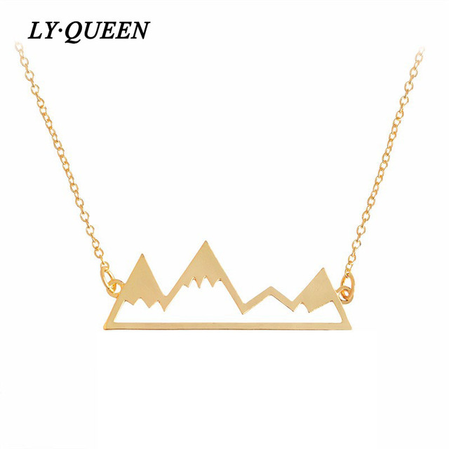 US $1 65 |Youth Vigor Hollow Snow Mountain Design Necklace And Friends Play  Together! Gold Silver And Black Three Colors-in Pendant Necklaces from
