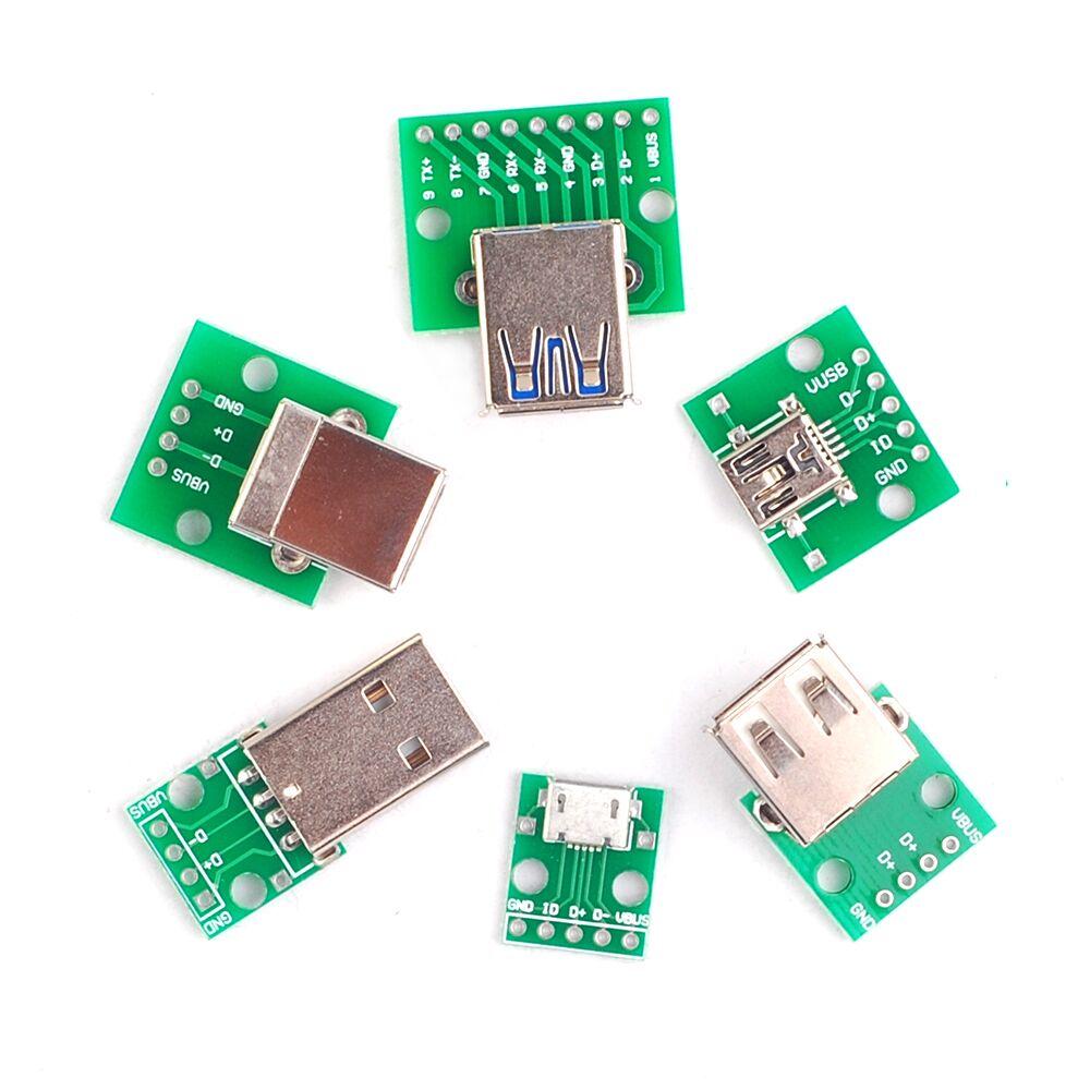 цены 6PCS USB to DIP Adapter Converter for 2.54mm PCB Board USB 2.0 USB 3.0 USB-01 USB-02 USB-03 USB-05 Power Supply each 1pcs