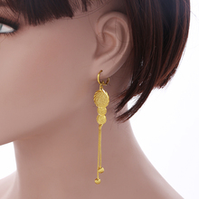 Jewelry Wholesale Gold Coin Long Earring Gold Color Drop Earring Muslim Islamic Jewelry Middle East/Arabic Women Gift E58