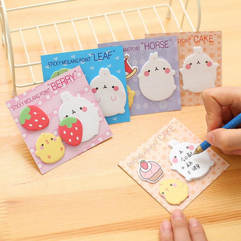 1 Pack Kawaii Molang Pet Strawberry Sticky Notes Memo Pad Stickers Stationery Message School Office Supply B10-01