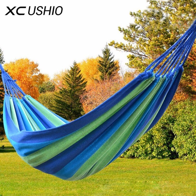 1-2 Person Colorful Rainbow Stripes High Strength Canvas Outdoor Sleeping Hammock for Hiking Camping 150KG 250KG Max Loading