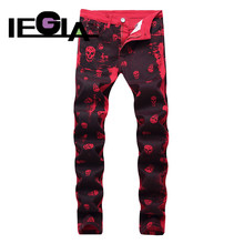 Men Jeans Cotton Straight Classic Spring Autumn Male Denim Pants Jean Red Skull Fashion Designer Mens Streetwear