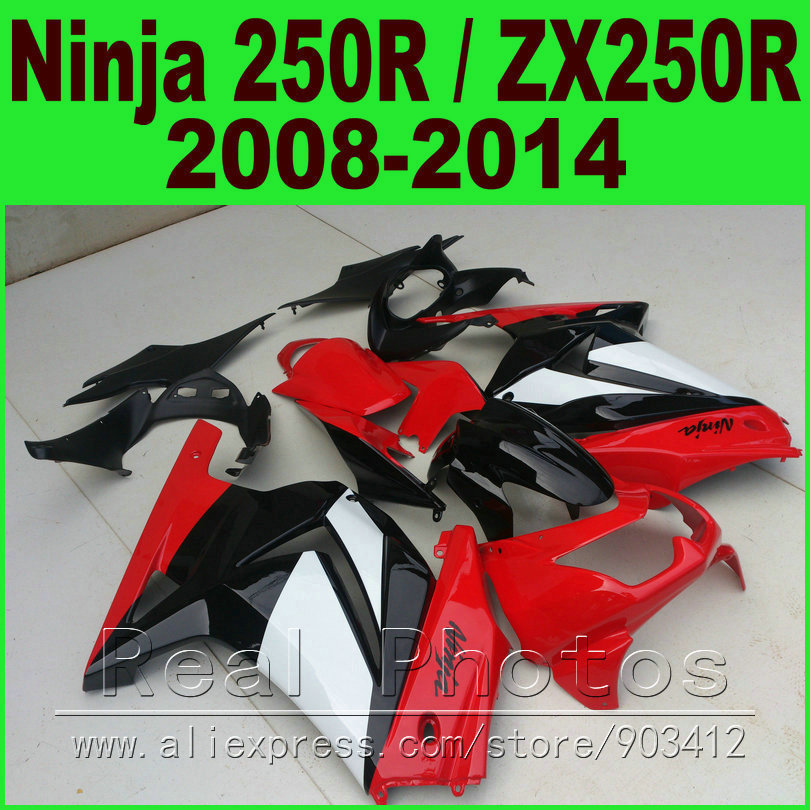 Red white Kawasaki Ninja 250r Fairings bod kit 2008 - 2014 EX250 2009 2010 2011 2012 ZX 250 fairing kits parts R4Y6