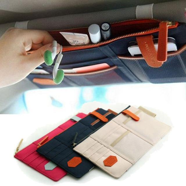 Coche-estilo parasol para coche soporte de paquete de tarjetas multifunción en el coche bolsillo organizador bolsa bolsillo Auto Tidying accesorios